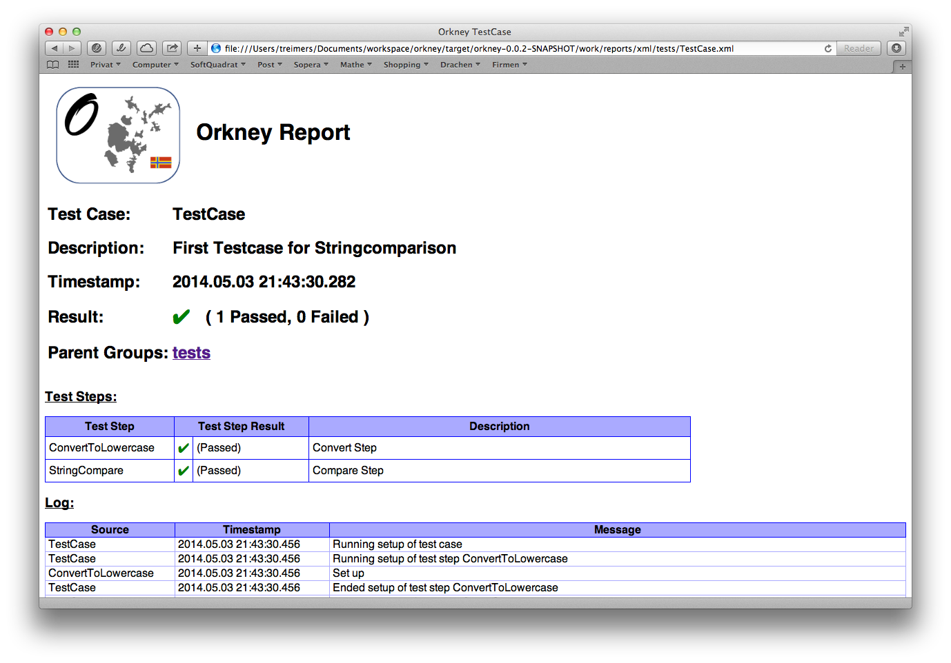 TestCase XML         report opened with a web browser
